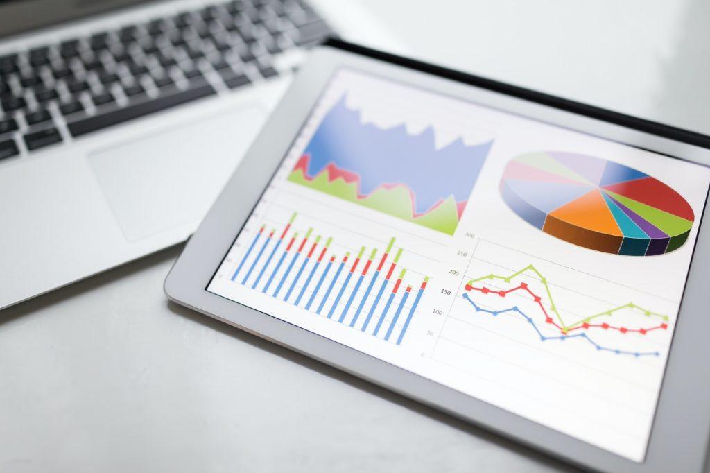 Digital tablet showing information chart